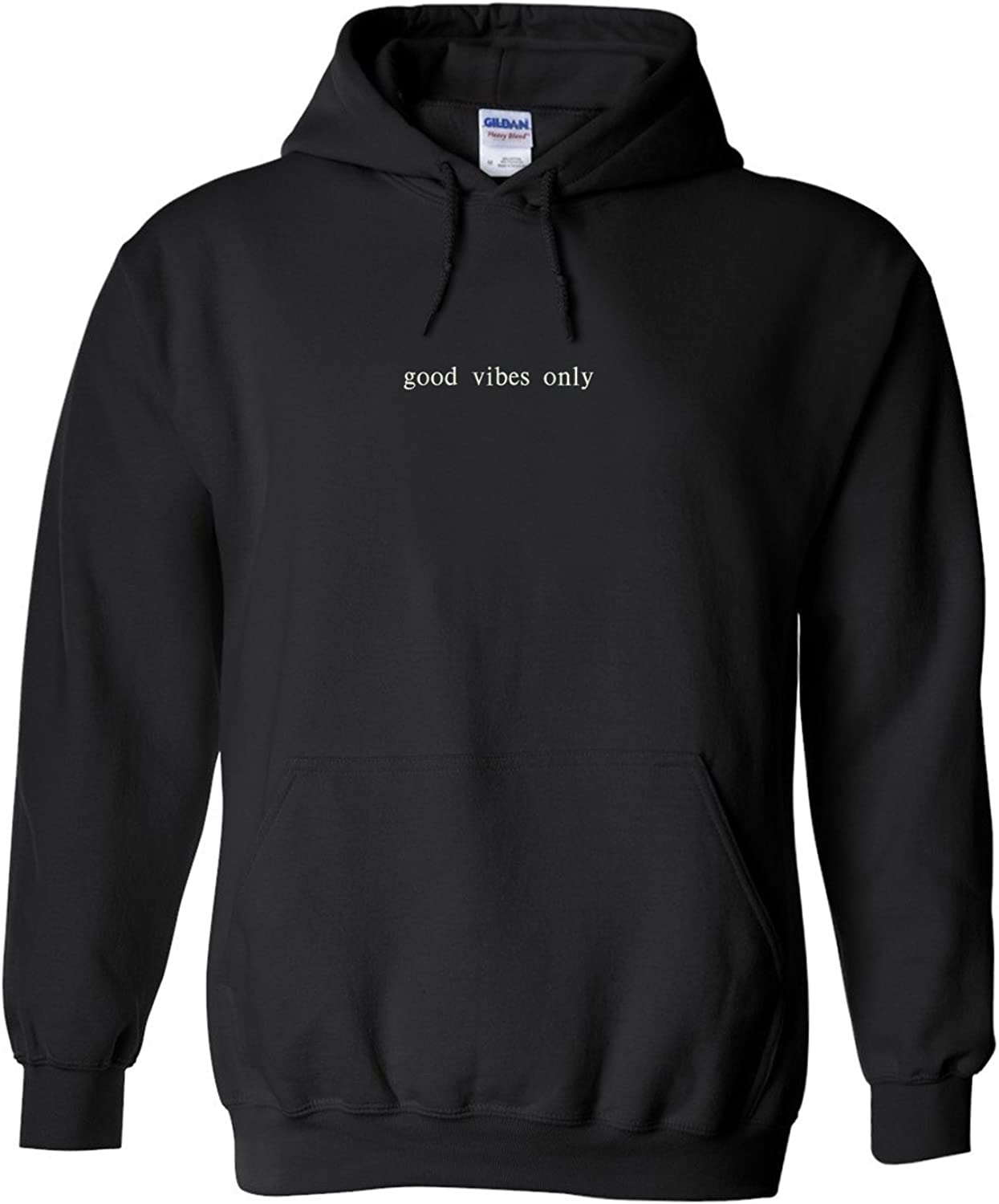 Trendy Apparel Shop Good Vibes Only Embroidered Heavy Blend Hoodie