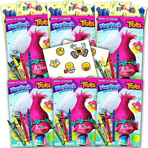 Trolls Ultimate Party Favors Packs -- 6 Sets with Stickers, Coloring Books and Crayons (Party Supplies)