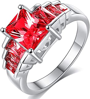 HYLJZ Anello Red Princess Cut AAA Cubic Zirconia Wedding Brand Rings for Women Silver Color Jewelry Best Gifts