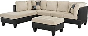 Casa Andrea Milano llc Modern Microfiber and Faux Leather Sectional Sofa and Ottoman Set, Tan