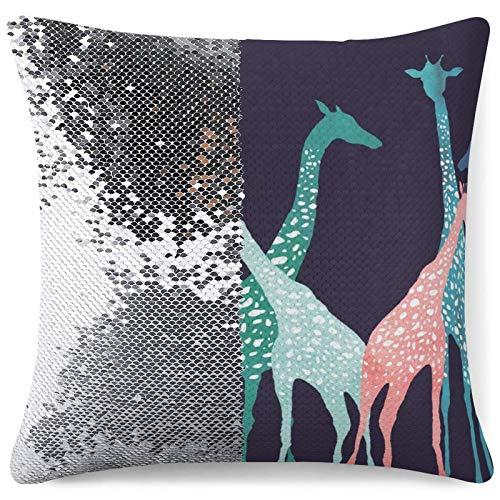 Pailletten Kissenbezug - Reversible Mermaid Kissenbezug Bunte Giraffen Dekorative...