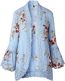 Women Lace Floral Open Cape Casual Suit Coat Blouse Kimono Jacket Cardigan