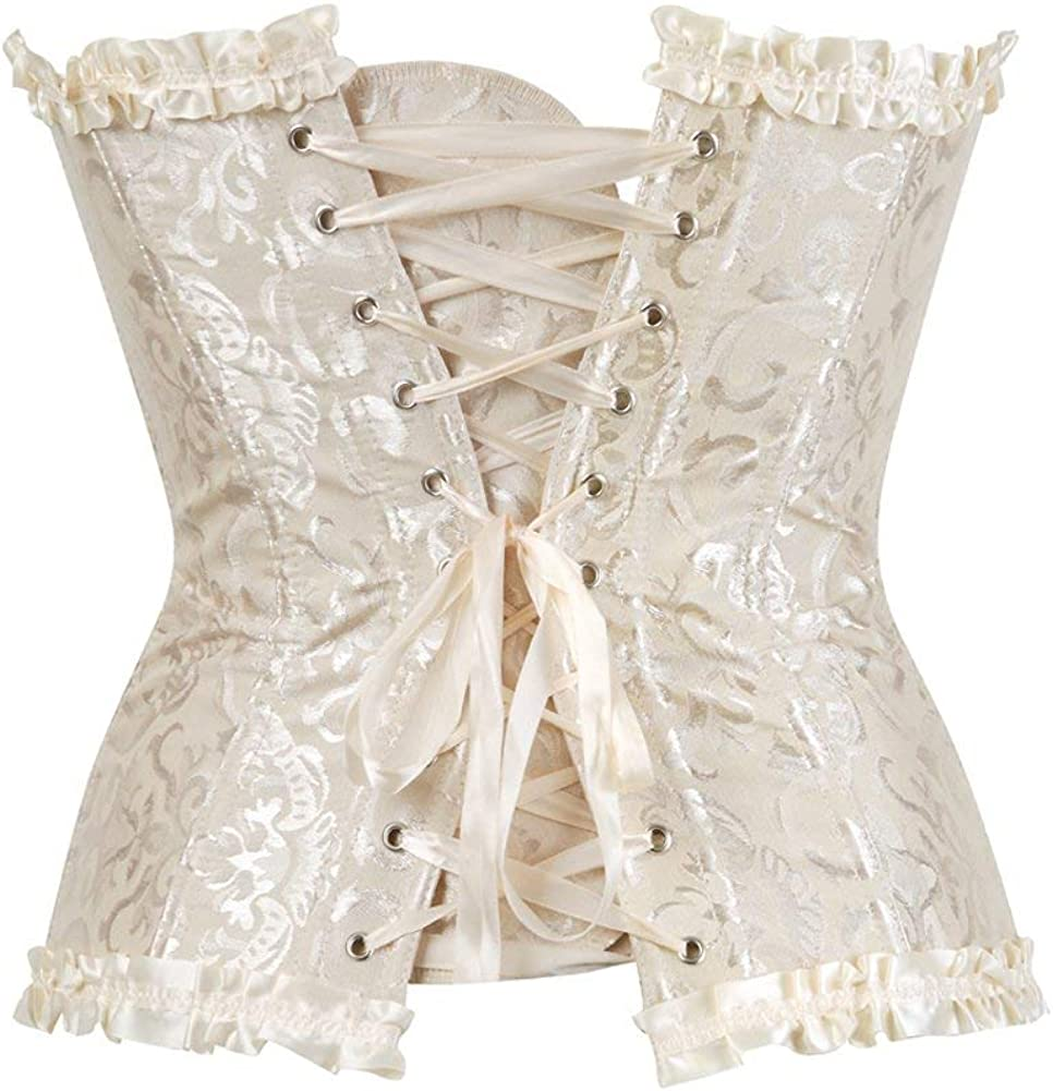 Womens Lacing Corset Top Satin Floral Boned Overbust Body Shaper Bustier