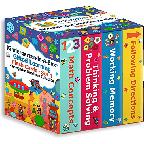 TestingMom.com Kindergarten-in-A-Box - Gifted Learning Flash Cards Bundle (Set 1) - Thinking/Problem Solving, Following Directions, Memory, Math - Gifted and Talented Test Prep for CogAT, WPPSI, NNAT