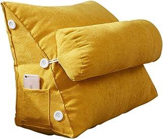 Almohada de respaldo triangular, respaldo de lectura, cojín de respaldo para cama, sofá, cama, lectura, silla de oficina, extraíble, lavable, cojín de cuña trasera ajustable amarillo