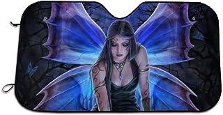 FUNMAX Fairy Wicca Wicca Angel Skull Windshield Sonnenschutz Halten Fahrzeug kühl Schützen Sie Ihr Auto vor Sonne, Hitze und Blendung, beste UV Strahlen Visier Schutz, Größe: 70,5 x 129,5 cm