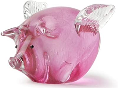 Pig Farm Figurine Glass Animal Cute Hand Blown Art Miniature Pink Home Decor New
