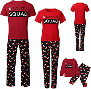 Aviat Matching Family Pajamas Sets Christmas,Soft&Casual Sleepwear,Letter Top+Xmas Hat Printed Pants Loungewear Fit for Party Holiday,Decor for Family,Kids,Boys,Girls,Festive PJs