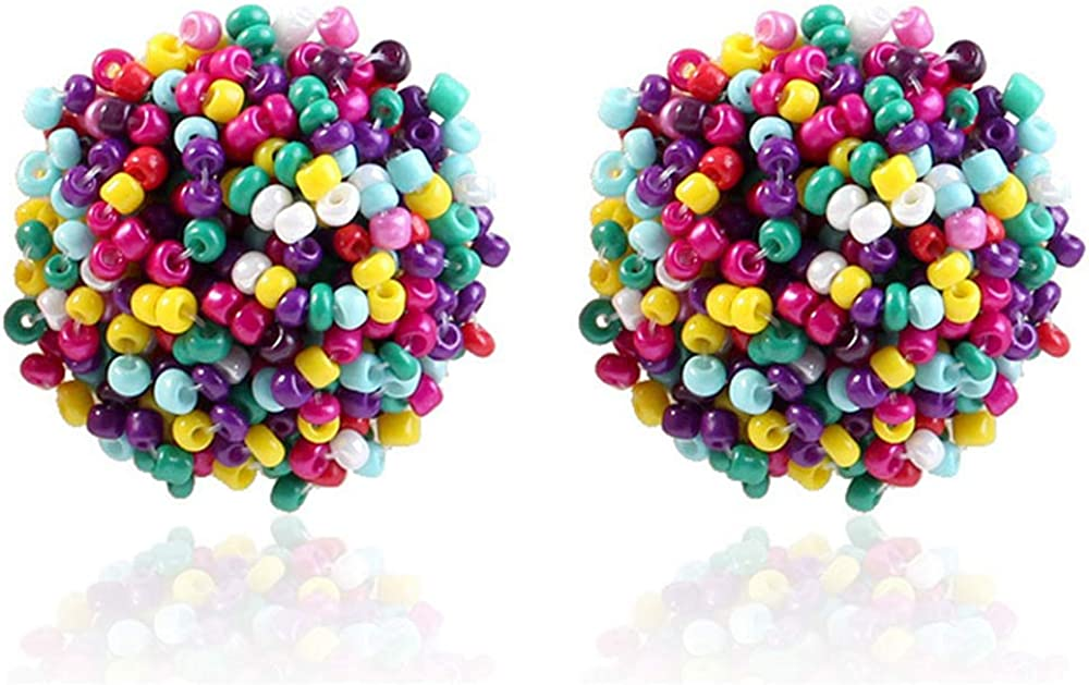 ONLYJUMP Handmade Bohemian Beaded Stud Earrings for Women Girls Fashion Lightweight Wrapped Cluster Rainbow Seed Beads Big Round Piercing Post Statement Earrings (Colorful)