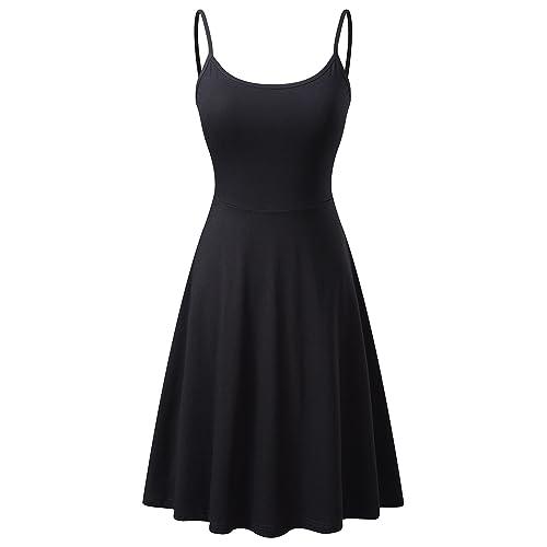 df33292eac VETIOR Women s Sleeveless Adjustable Strappy Flared Midi Skater Dress
