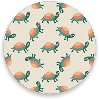Cartoon Turtle Coasters, Protect Your Furniture From Stains,Coffee, Drink Coasters Funny Housewarming Gift,Round Cup Mat Pad For Home, Kitchen Or Bar Set Of 2