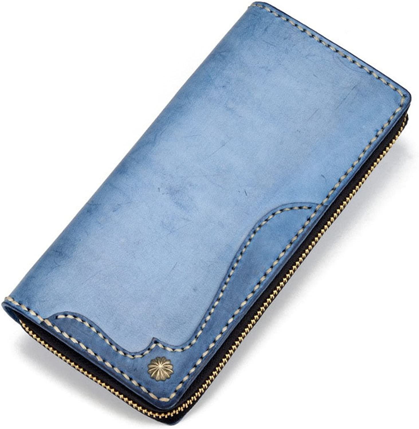 Women's Wallet Women's Leather Wallet Long Multicolor Optional Daily Shopping Leisure Travel Large Capacity MultiCard Slot Wallet Leather Wallet (color   bluee)