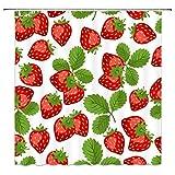 lovedomi Cortina de ducha de frutas tropicales, color rojo, fresa, verde, serie temática, decoración de baño, cortina de ducha de tela de poliéster impermeable, 183 x 183 cm, set de accesorios de baño