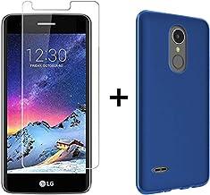 TBOC Pack: Funda de Gel TPU Azul + Protector Pantalla Vidrio Templado para LG K4 [2017] M160 [5.0 Pulgadas]. Silicona Ultrafina y Flexible. Protector Resistente a Golpes Caídas y Arañazos