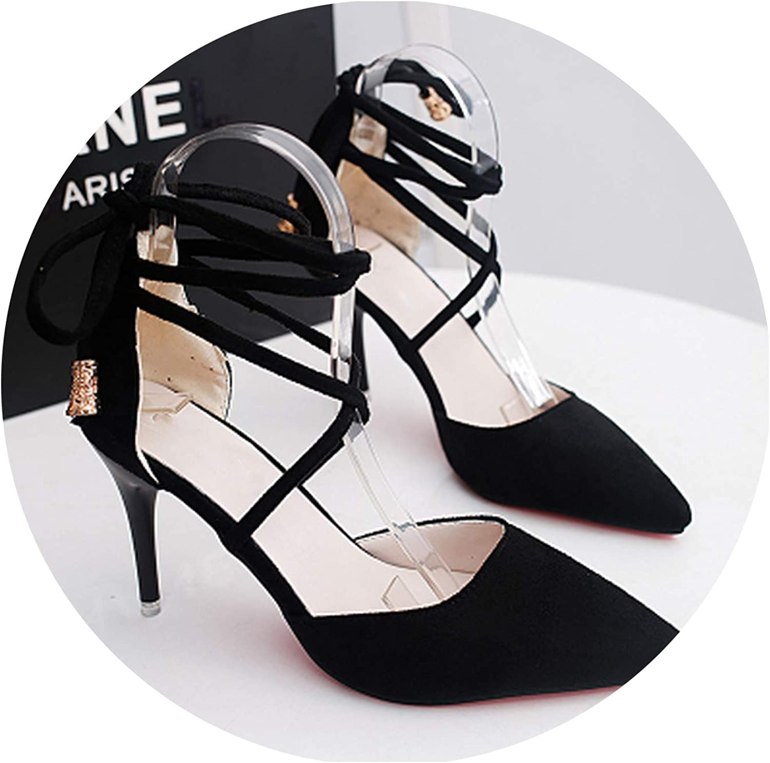 Smile-xj Women Sandals Suede high Heels Shallow Mouth Pointed high Heels Hollow Sexy Comfortable high Heels