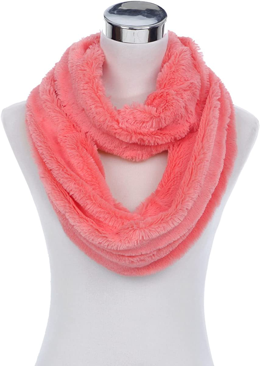 Super Soft NEW before selling Faux Fur Solid Color Circle Gifts Loop Infinity Warm Scarf