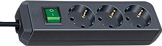Brennenstuhl Eco-Line 3-fach Steckdosenleiste Steckerleiste mit Kindersicherung, Schalter und 3 m Kabel schwarz