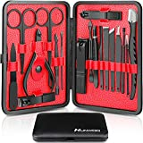 Hunwoo Professional Manicure Set, Nail Clippers Set 18 in 1 Grooming Kit Stainless Steel Nail Scissors Nail Cutter Pedicure Set Great Gift for Men & Women