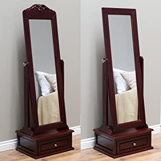 Belham Living Removable Decorative Top Cheval Mirror - Cherry - 21.5W x 60H in.