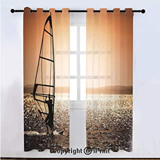Coastal Decor Semi Sheer Voile Window Curtain With Drapes Grommet,Windsurfer Silhouette Sunset Water Sports Summertime Fun Holiday,for Bedroom,Living Room & Kids Room(108