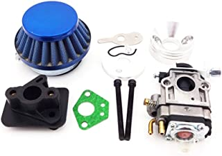 TC-Motor 15mm Carb Carburetor + Blue 44mm Air Filter + Alloy Stack + Mainfold Intake Pipe Kit For 2 Stroke 33cc 43cc 50cc Engine Parts Goped EVO Gas Scooter
