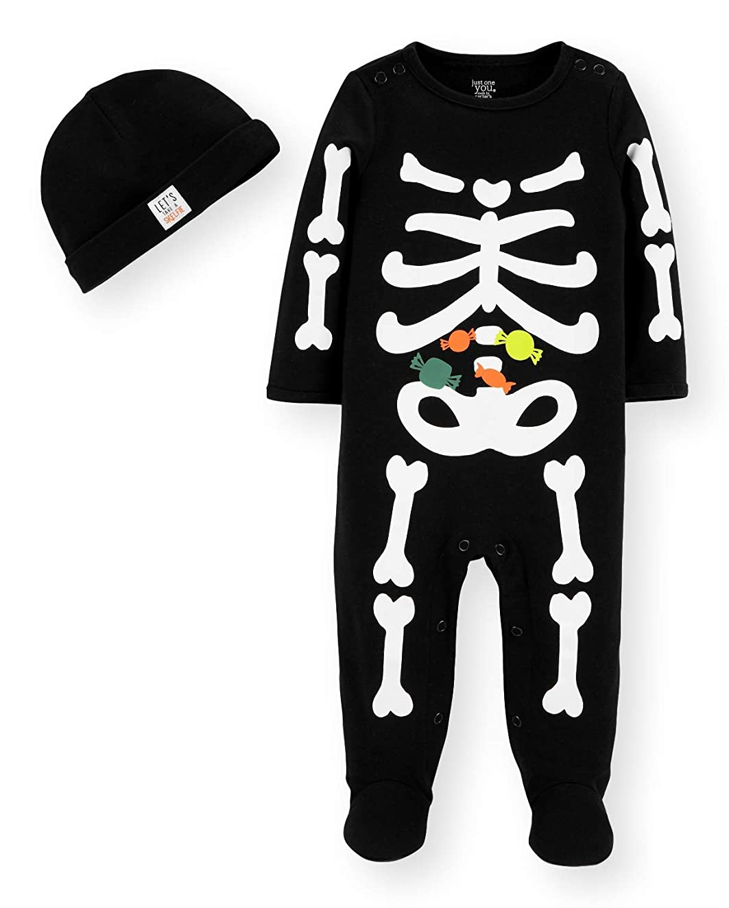Just One You by Carters Halloween Baby Skeleton Sleep and Play with Hat Set