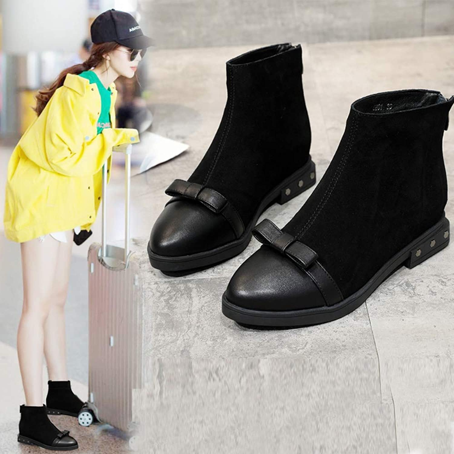 Women's shoes with Martin Boots Warm shoes Zipper Ankle Boots Black Leather Boots 3-6.5