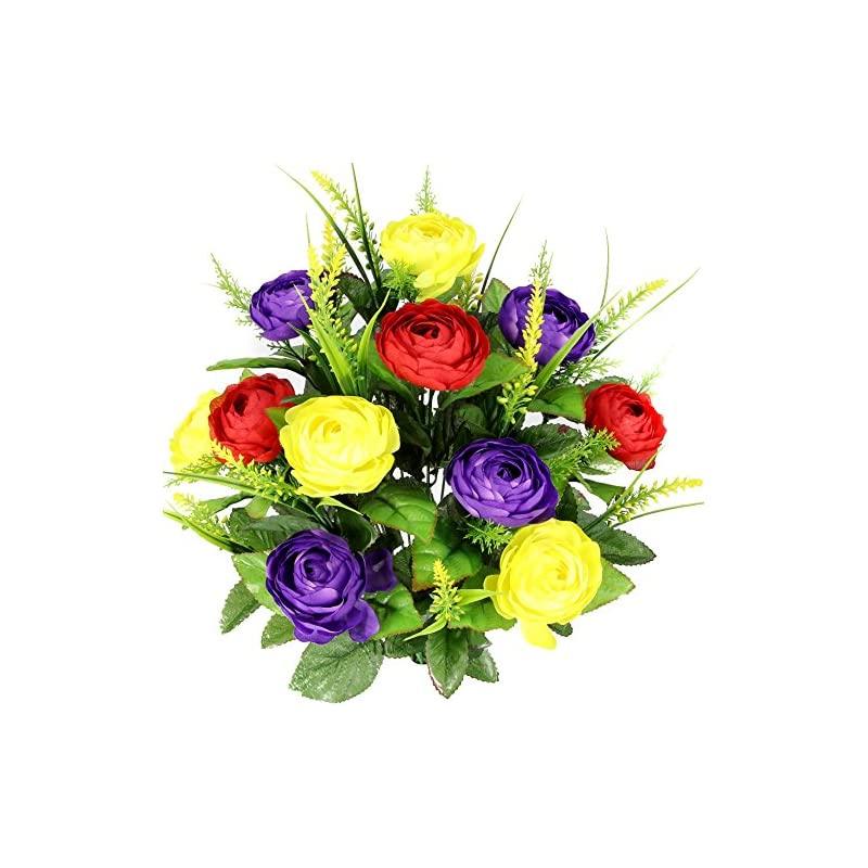 silk flower arrangements admired by nature 22 stems artificial ranunculus & fillers mixed flowers bush for home office, restaurant, wedding decoration, red/yellow/purple