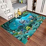 Spieldecke Teppich Kinderzimmer Kinderteppich Matte 3D Underwater World Blue soft