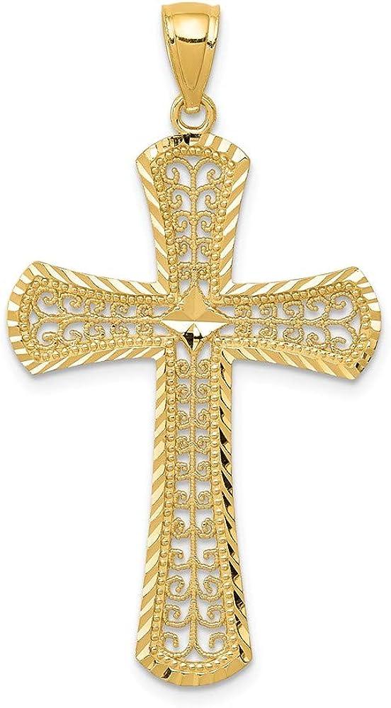 shop Solid 14k Max 84% OFF Yellow Gold Diamond Pendan Cross Filigree Cut Crucifix