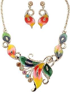 Flyme New Style Butterfly Necklace Earrings Diamond Crystal Elegant Women Girls Jewellery Set of Crystal Pendant Necklace+Earrings (Colorful)