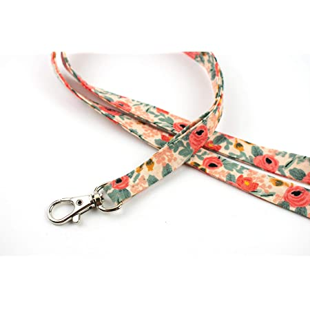 Cotton Flower ID Badge Holder Swivel Lobster Clasp Gift 4 Nurse or Teacher Stonewashed Pink and Black Floral 34 Washable Fabric Lanyard