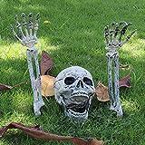 78Henstridge Halloween Deko Horror Skelett Schädel Realistische Gruseliger Skeleton für Halloween Party Garten Hof Dekoration