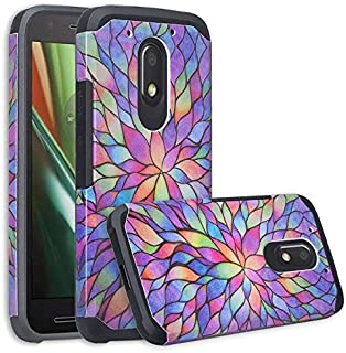 Moto G4 Play Case, Moto G Play Case [Impact Resistant] Hybrid Dual Layer Defender Protective Case Cover for Motorola Moto G4 Play/Moto G Play XT1607/XT1609 - Rainbow Flower
