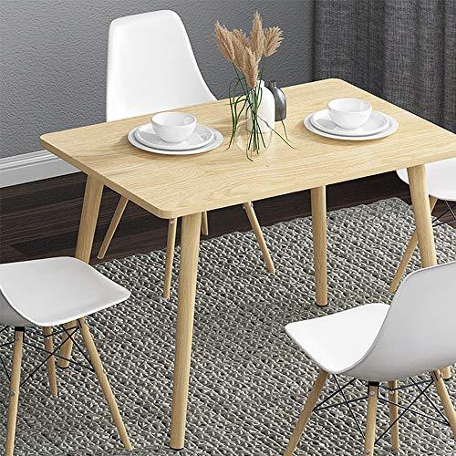 KaminHome - Conjunto de Mesa + 4 sillas Comedor Ashley salón Cocina Pata Madera Rectangular diseño nórdico escandinavo Color Roble Silla Blanca (70 cm x 70 cm x 72 cm (Mesa + 4 Sillas))