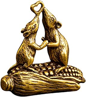 DMtse Brass Funny Mouse Mouse Loves Corn Decor Statue Figurines for Animal Sculpture Collectibles Lovely Gift