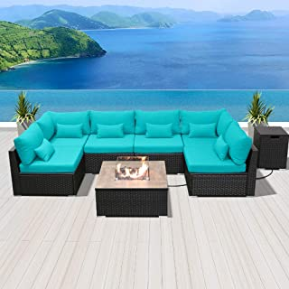 Modenzi Outdoor Sectional Patio Furniture with Propane Fire Pit Table Espresso Brown Wicker Resin Garden Conversation Sofa Set (G7 Sofa Square Fire Pit, Turquoise)
