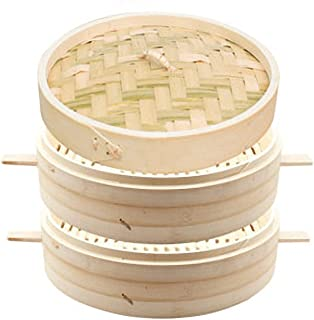 Bamboo Steamer, 2-Layer Handmade Food Steamer with Lid, Kitchen Cookware, Thickened Handle, Rice Dim Sum Vegetables Meat D...