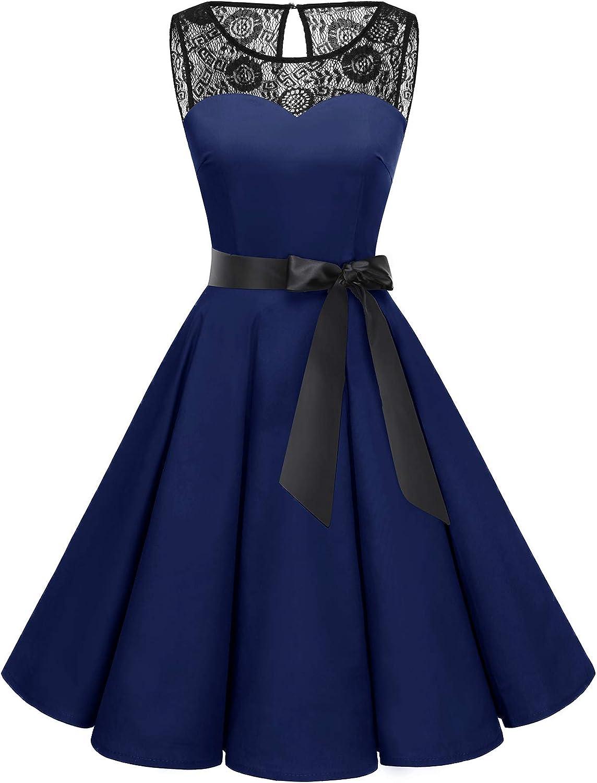 Bbonlinedress Women's 1950s Vintage Rockabilly Swing Dress Lace Cocktail Prom Party Dress