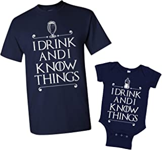 I Drink and I Know Things Dad & Baby Mens T-Shirt & Infant Bodysuit Matching Set