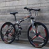 GASLIKE Bicicleta de montaña Plegable con Ruedas de 26 Pulgadas, suspensión Doble para Hombres y Mujeres, Marco de Acero de Alto Carbono, Freno de Disco de Acero,Gris,24 Speed