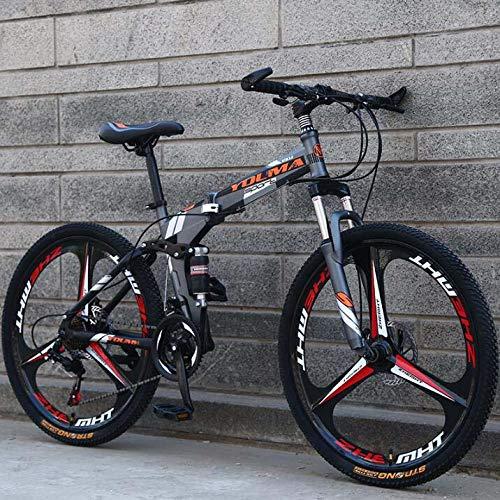 GASLIKE Bicicleta de montaña Plegable con Ruedas de 26 Pulgadas, suspensión Doble para Hombres y Mujeres, Marco de Acero de Alto Carbono, Freno de Disco de Acero