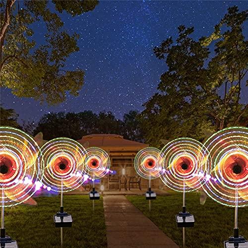 Molino de viento, lámpara solar LED, 2 unidades, molinillo de viento, lámpara solar de plástico, 32 ledes, iluminación multicolor, impermeable, para Navidad, jardín