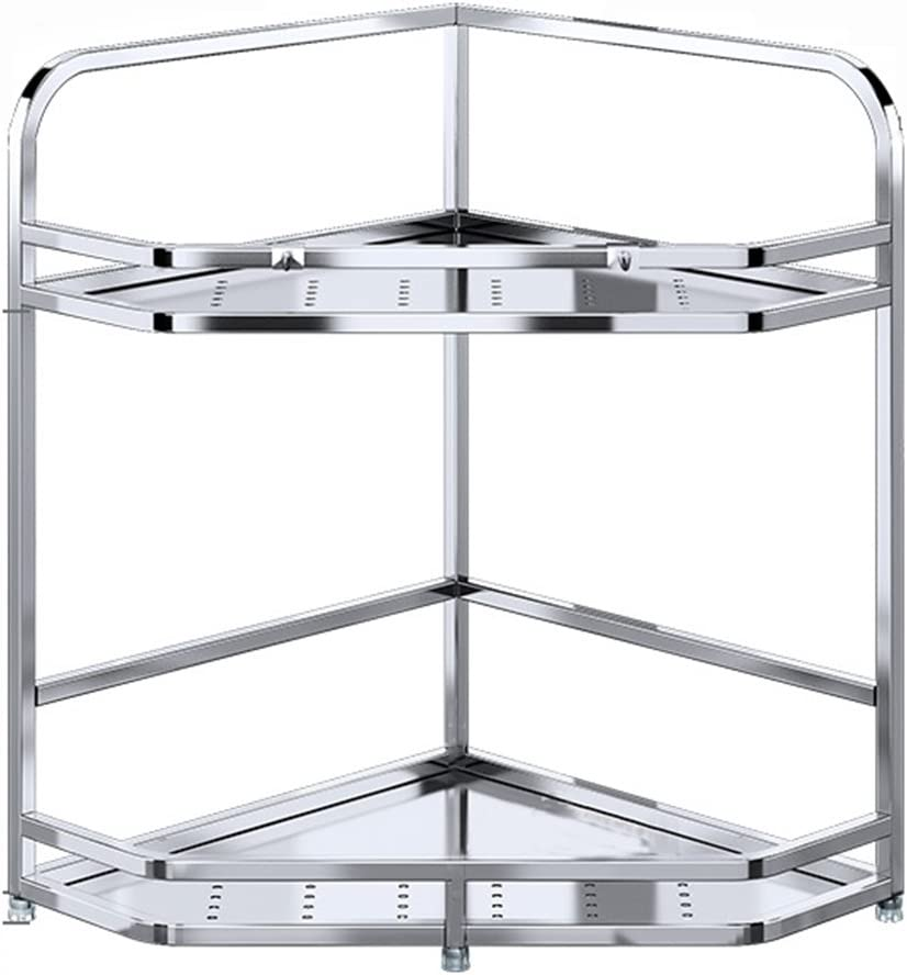 Bargain XYM High quality 304 Stainless Steel Kitchen Corner of Layers 2 Shelf Silver