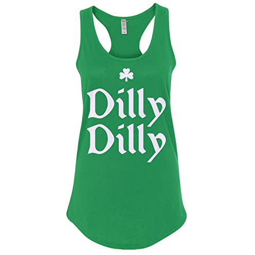 d0bb5fa40c9850 Mixtbrand Women s Dilly Dilly St. Patrick s Day   Gold Crown Racerback Tank  Top