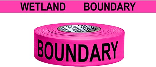 """Presco Printed Roll Flagging Tape: 1-1/2 in. x 50 yds. (Neon Pink with Black""""WETLAND BOUNDARY"""" printing)"""