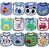 Yafane Baby Lätzchen Wasserdicht Weich 12er Babylätzchen aus Baumwolle Halstücher für Baby Jungen Kleinkinder
