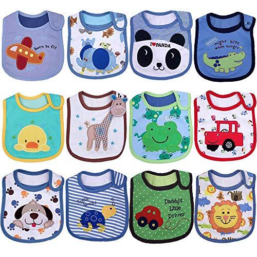 Yafane 12 pcs Baberos Impermeables Baberos Bebé para Niños y Niñas Bandana Algodón Absorbente Recien Nacido 3-24 meses (Niños)
