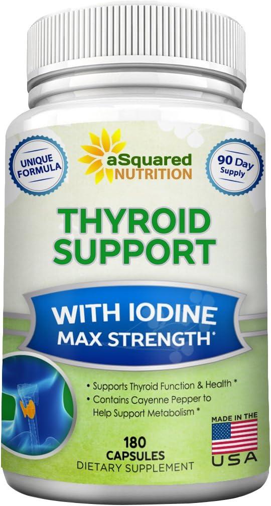 Premium Thyroid Support Supplement with Iodine (180 Capsules) -
