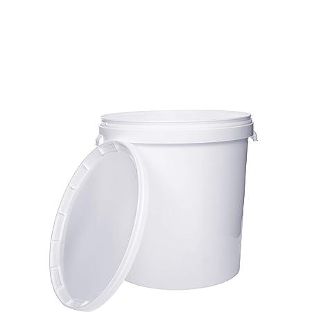 Seau avec couvercle   1 x 30 Litres   Blanc Plastique Alimentaire Qualité de meilleure